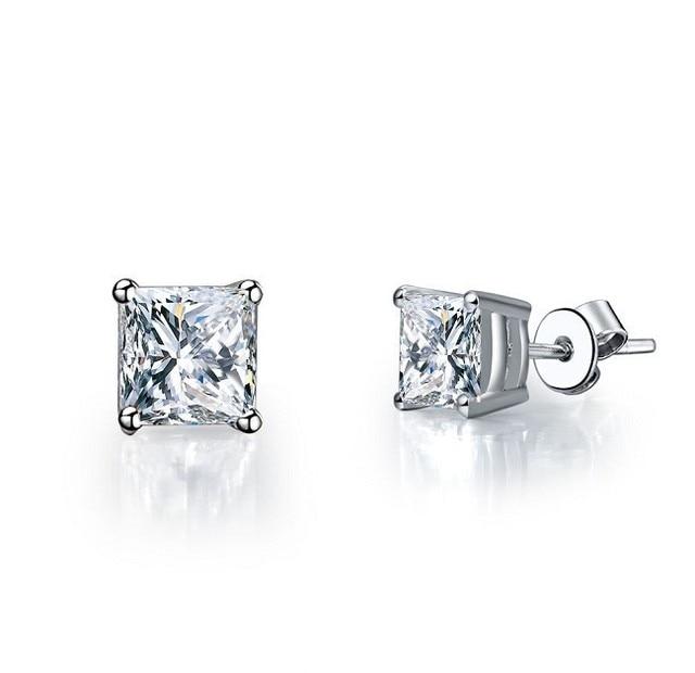 1ct Piece Princess Cut 925 Sterling Silver White Gold Finish Fine Diamond Stud Earrings Wedding