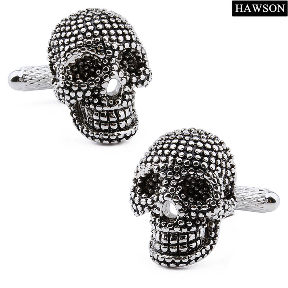 1 Pair Retail Gun Plated With Eye Crystal Skull Pattern Mens Fashion Shirt Jewelry Trendy Cuff Links For Men
