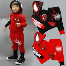 Free shipping Explosion Of The Boy's Spider Man Suit Cartoon Two Sets Of Jacket + Trousers
