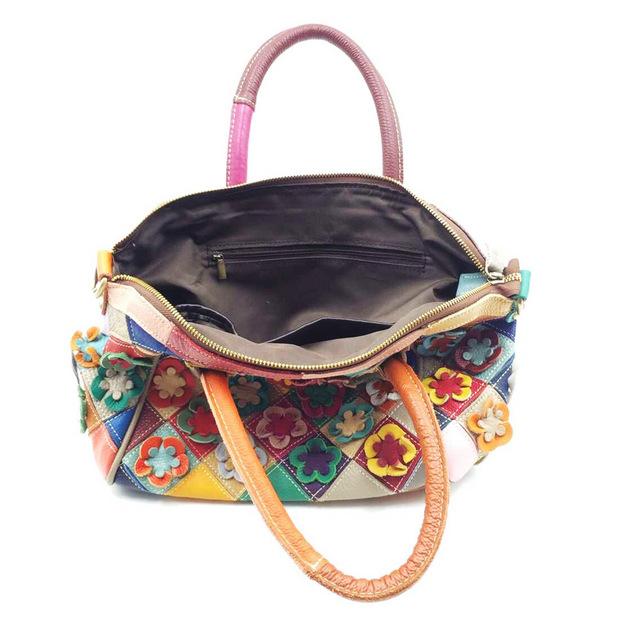 Dreamlizer Random Flower Design Genuine Leather Bags Handbags High Quality Female Pattern Totes Fashion Women Messenger Lady