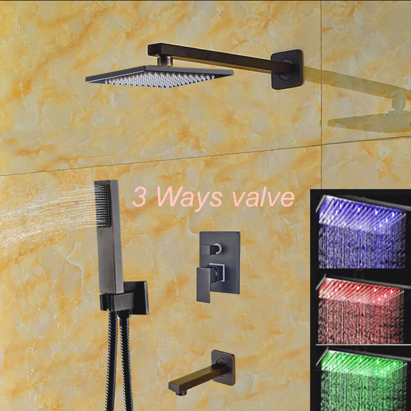 LED Color Changing Rain Showe 3 Way Valve Mixer Tap Tub Tap Hand Shower Oil Rubbed Bronze