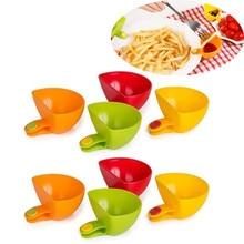 8PCS Plastic Side plates Assorted Seasoning Sugar Salad Tomato Sauce Dishes Kitchen Clip Bowl Dip 2O81214