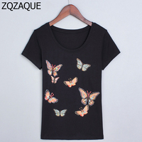 2016 Wholesale And Retail Korean Slim Style Colorful Butterfly Hand Beaded Fashion Women S T Shirts