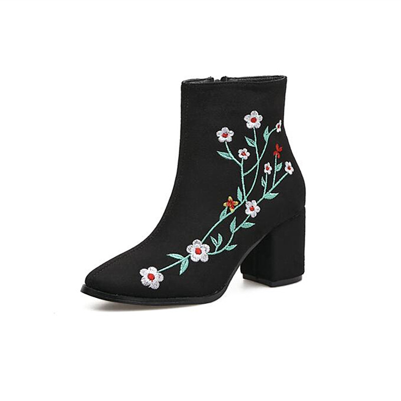 Autumn winter season The latest hot sale Fashion shoes Woman Round toe Square heel Embroidered shoes Solid color High heel boots hot sale autumn winter shoes round toe fashion ankle women boots sheepskin all match square high heel