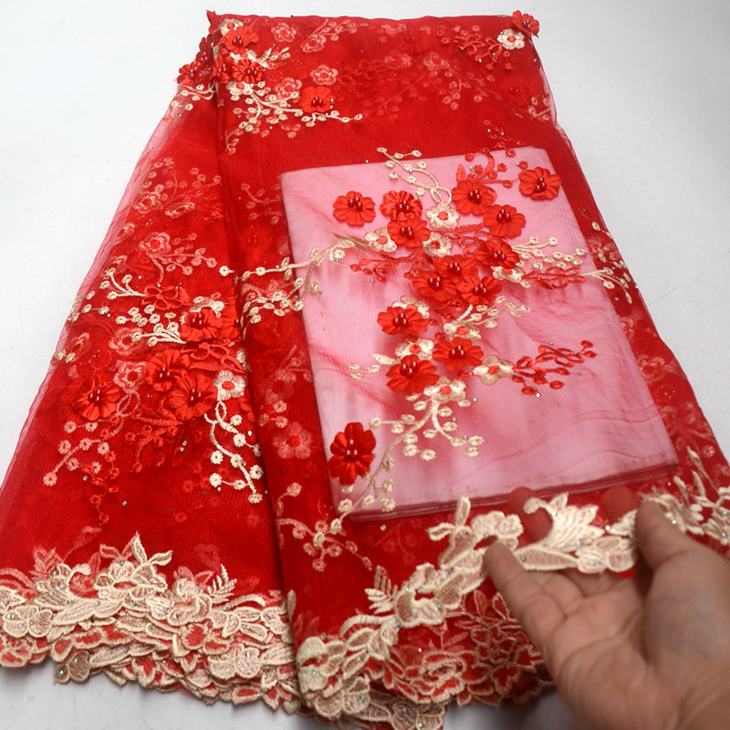 FolaSade Red Tulle Lace Fabric High Quality Europe And America Fashion Fabric With Beads 3d Embroidery