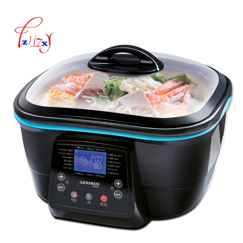 Multi function 5L Electric health pot Electric Cooker Hot Pot/grill/steam/pan fry/deep fry/bake/cake maker food Cooking DFC 818