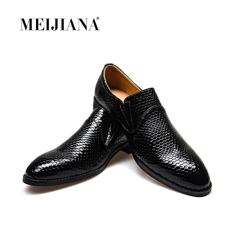 Meijiana Serpent En Cuir Hommes Chaussures Oxford à lacets décontracté Hommes D'affaires Chaussures Pointues Marque Hommes Mariage Hommes Robe Chaussures Bateau