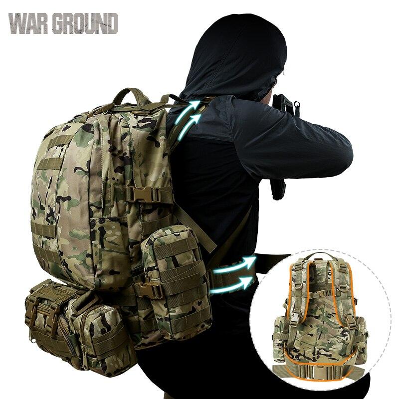50L combinación al aire libre montañismo bolsa Molle militar táctica mochila camuflaje caza bolsa senderismo camping mochila