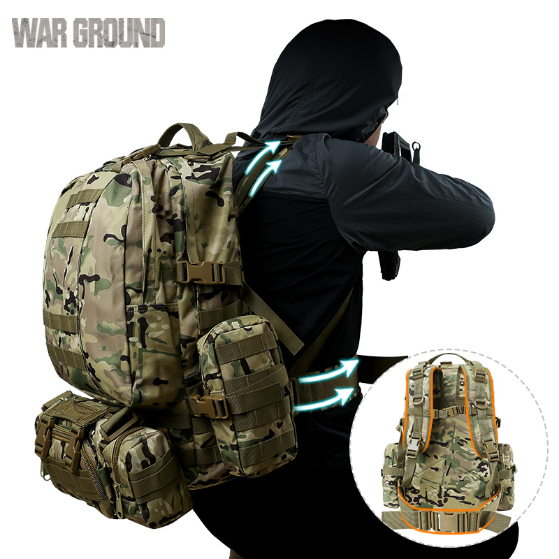 50L Combination Outdoor Mountaineering Bag Molle Military Tactical Backpack Camouflage Hunting Bag Hiking Camping Backpack