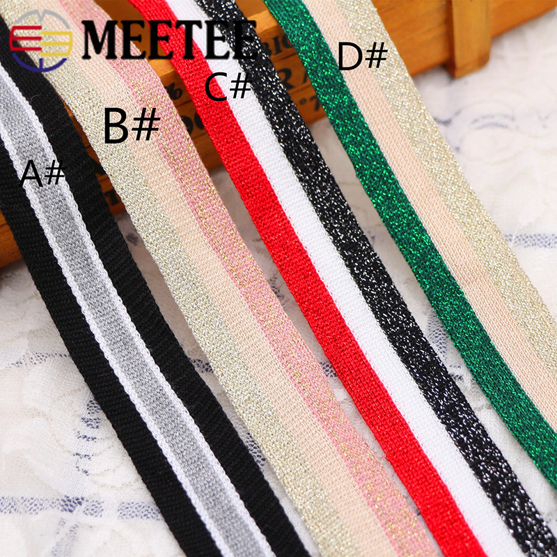 12M 25mm Gold Silver Stripe Knitted Webbings Tapes Sport Pants Trousers Side Lace Ribbons Sewing Band Trimmings DIY Accessories in Webbing from Home Garden