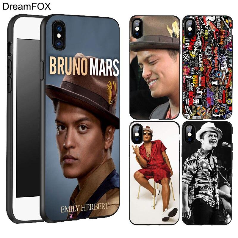 Dreamfox K035 Bruno Mars музыкант Черный Мягкий ТПУ силиконовый чехол для Apple IPhone X 8 7 6 6 S плюс 5 5S 5 г se ...
