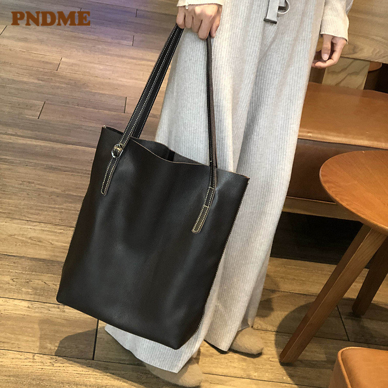 PNDME vintage casual genuine leather ladies tote bags large capacity soft cowhide simple women 39 s shopping bag black handbag 2019 in Top Handle Bags from Luggage amp Bags