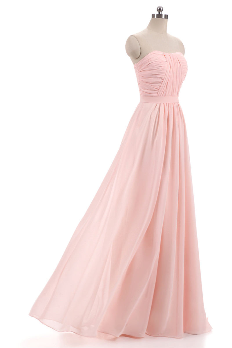New Pink Lilac Chiffon Bridesmaid Dresses 2018 Plus Size Wedding Party Gown Maid of Honor Long Prom Dress with Belt