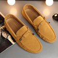 New Suede Leather Loafers For Man Mocassin Homme Bow Knot Solid Color Male Flats Casual Working Shoes Mens Slip On Yellow Black