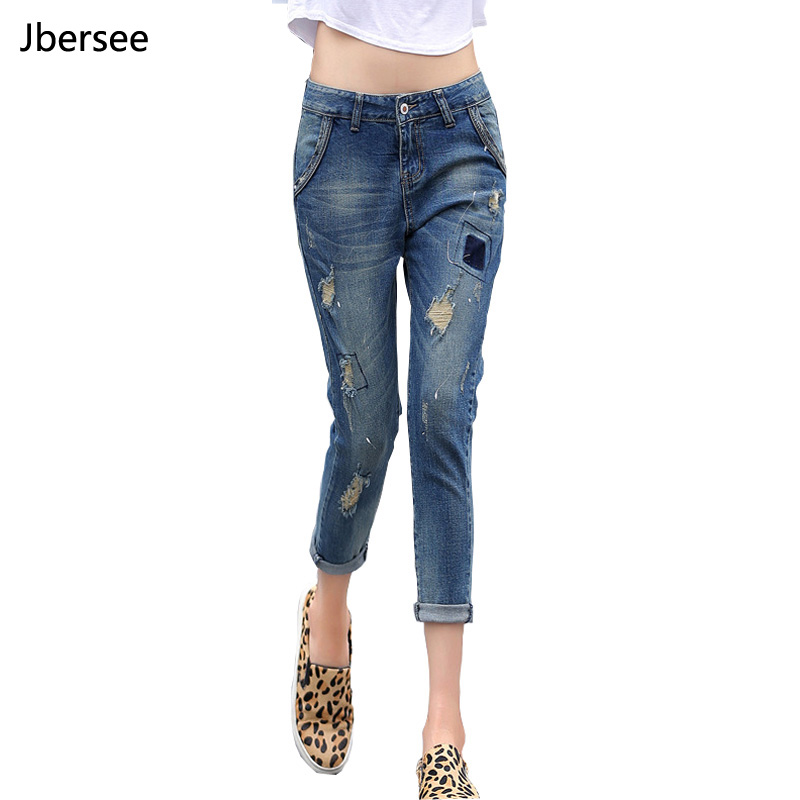 Domple Mens Mid Waisted Slim Fit Ripped Holes Vogue Ankle Jeans Denim Pants