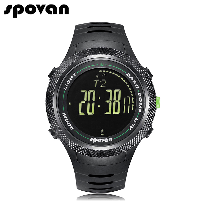 SPOVAN Multifunction Men's Watch 50m Waterproof LED Backlight Compass 3D pedometer Calorie count Military sport Watches Leader2 1 5 lcd 3d sensor multifunction pedometer storage pedometer black silver 1 x cr2032