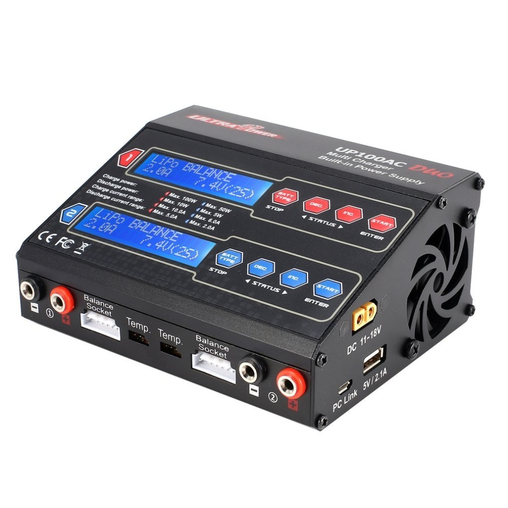 Ultra Power UP100AC DUO 100W Cyclic Charge / discharge LiIo / LiPo / LiFe / NiMH / Nicd Balance Charger Arrester for RC Drone ultra power up100ac ac dc plus 100w balance charger