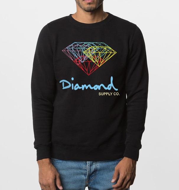hot sale Diamond printed co men sweatshirts 2017 new autumn winter fashion casual hoodies hip hop style high quality streetwear
