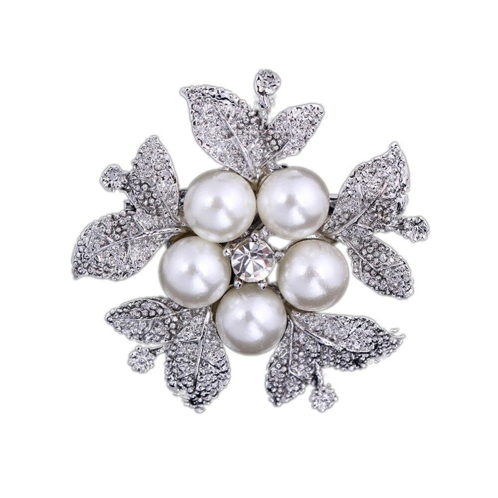 new product 5bdfa d7338 A40 mujeres flor joyería nupcial cristal rhinestone Faux perla broche  Pasadores plata Broches nuevo