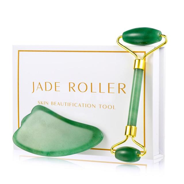 Rose Quartz Roller Slimming Face Massager Lifting Tool Natural Stone Facial Massage Jade Roller Skin Massage Beauty Care Set Box
