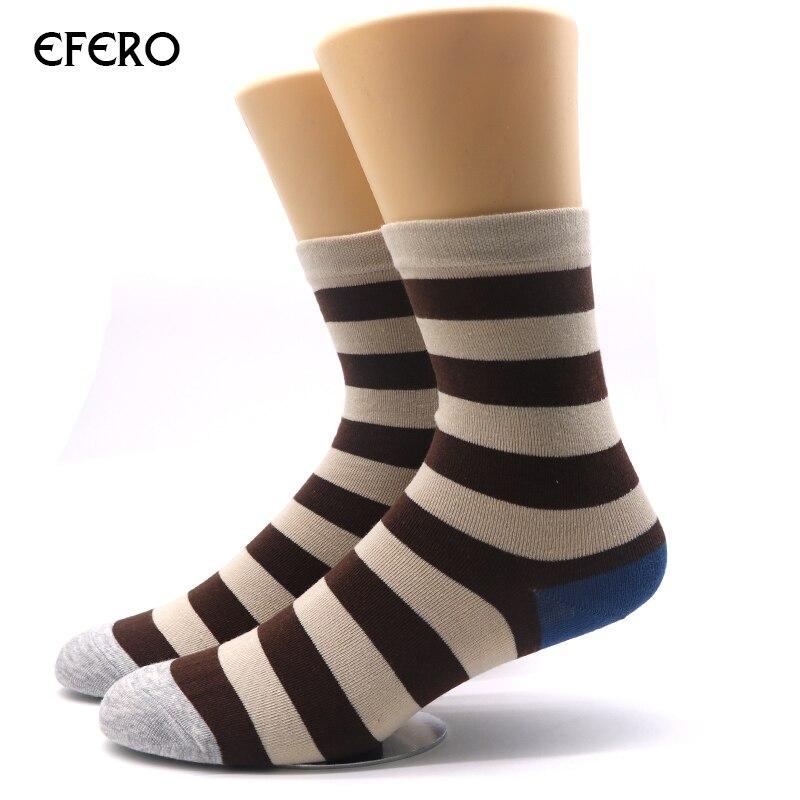 efero 5pair Color Stripes Men Crew Socks of cute Sock Casual Mens Dress Socks Business Designer Brand Long Socks Sokken Manne
