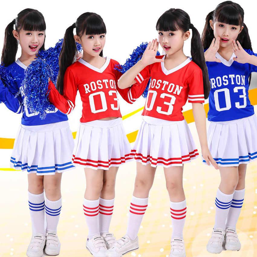 Детский костюм чирлидерши школьная форма для девочек Футбол матч класса одежда команды ученик средней школы производительность Косплэй