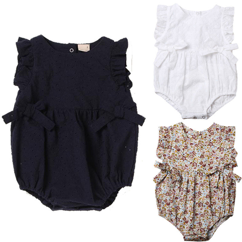 Cute Newborn Baby Girls Floral Romper Bowknot Clothes One Pieces Jumpsuit Outfit Infant Toddler Girl Sleeveless Brief  Rompers(China)