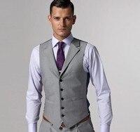 새로운 패션 라이트 그레이 트위드 조끼 헤링본 영국 스타일의 사용자 정의 만든 남성 정장 재단사 슬림 맞춤 양복 W29