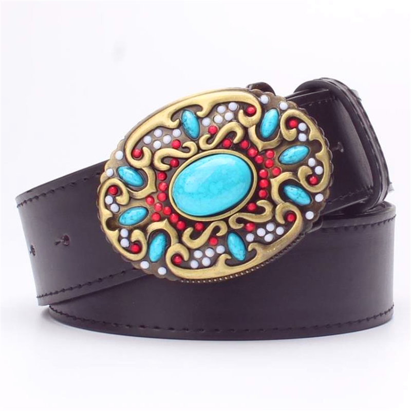 Fashion women' leather belt Inlaid turquoise Metal buckle colored gemstones decorative belts gift for women flower belt