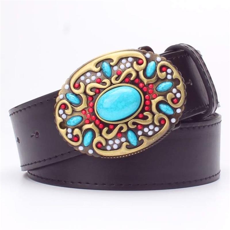 Mode kvinnors läderbälte Inlagd turkos Metallspänne färgade ädelstenar dekorativa bälten present till kvinnor blomma bälte