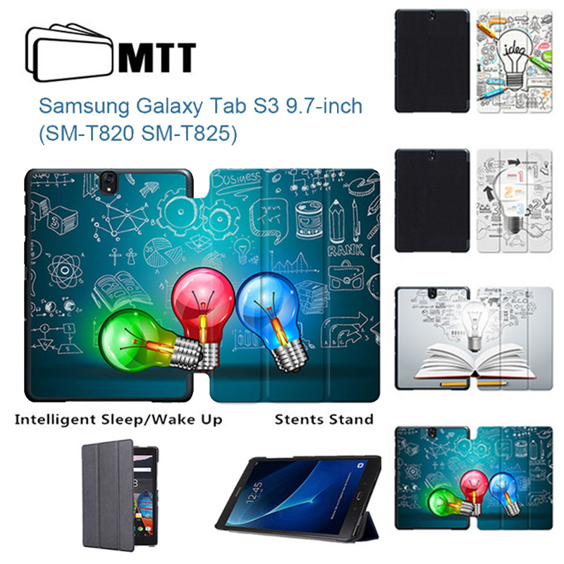 For Samsung Galaxy Tab S3 T820 T825 9.7 inch Tablet Case Creative Bulb PU Leather Stand Flip Folio Cover for Samsung Tab S3 9.7 планшеты samsung tab
