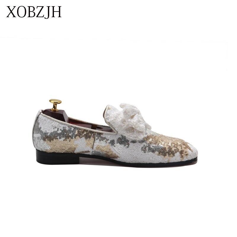 Мужская обувь Лоферы XOBZJH, белые лоферы на свадьбу, лето 2019 - 4