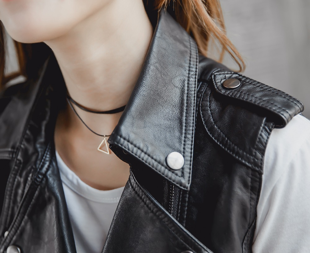 leather jacket women PU vest, water-washed leather vest jacket sleeveless women pu leather vest hight quality motorcycle leather