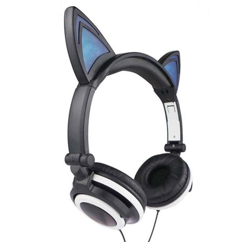bilder für Tragbare 1,5 Mt 3,5mm AUX Nette Verdrahtete Kopfhörer Persönlichkeit Katze Ohren Headset Klapp Blinkende Kopfhörer LED kopfhörer Für PC Laptop