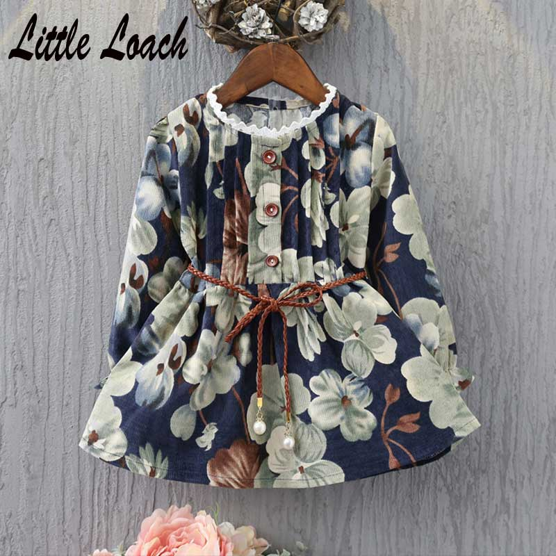 все цены на Princess Long Sleeve Dresses Kids Clothing For Kids 2-7Years Spring Autumn Elegant Clothes Vintage Cotton Girls Floral Dress