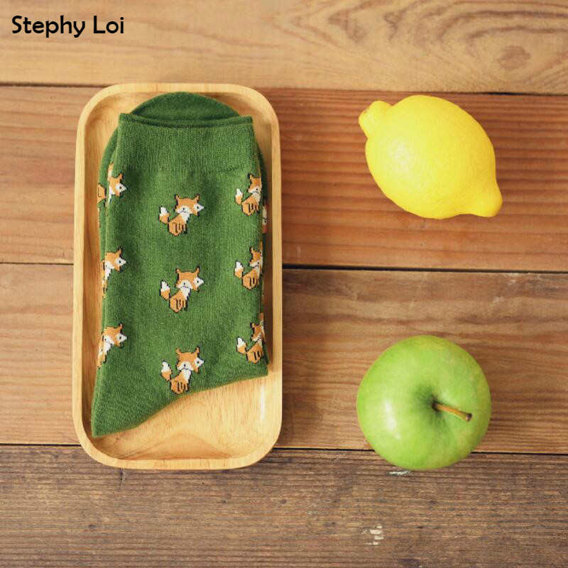 New Arrive Caramella Men Women Fox Pattern Cooton Socks Casual Cute Harajuku Street Tide Casual Funny Japanese Korean Novelty