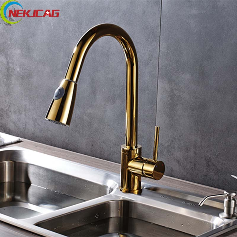 Antique Brass Kitchen Sink Faucets Deck Mounted Rotatable One Hole One Handle Water Faucet