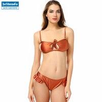 Sexy Brazilian Bikini Metallic Bikini Set Swimwear Women Lace Up Low Waist Bottom Hollow Out Two