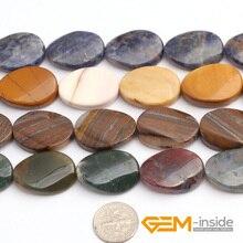 18x25mm Forma Oval Cuentas de Piedras Naturales Para La Joyería Que Hace Granos: Jaspe Rojo r, Mookaite Jaspe r, sodalita, India agata Strand 15″
