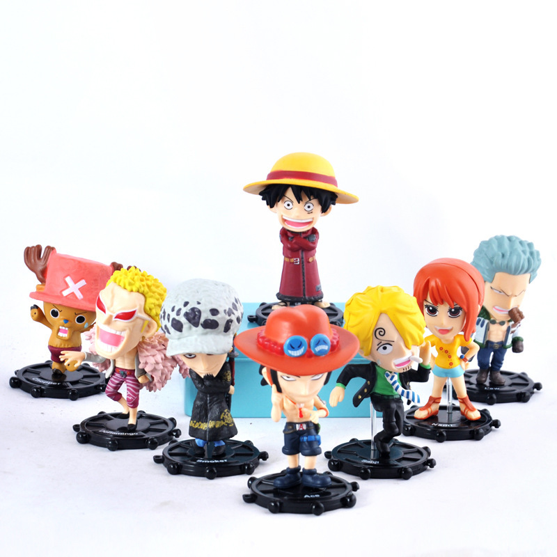 ZXZ 10cm 8pcs/set Anime One Piece Mihawk Luffy Edition Action toy Figure Juguetes Figures Collectible Model Toys for children 6pcs set disney toys for kids birthday xmas gift cartoon action figures frozen anime fashion figures juguetes anime models