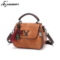 2018 New Luxury Women Bag tide Genuine leather Letter handbags fashion wild Female shoulder tassel Brown ladies Messenger Bags
