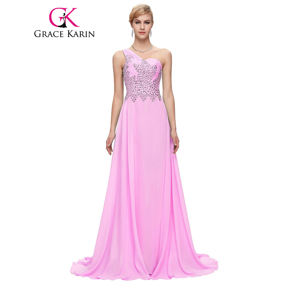 b89788e475515 Grace Karin One Shoulder Long Evening Dresses With Beading 2017 Navy Blue  Purple Pink Green Formal Dress Sexy Prom Party Gowns