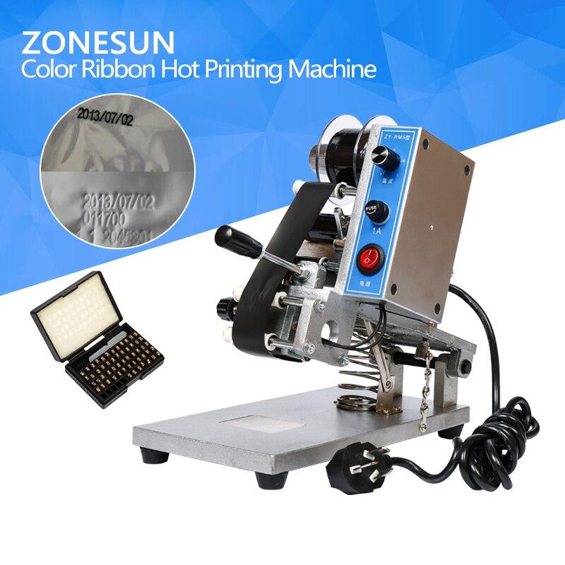 ZONESUN ZY-RM5 Coding Machine Color Ribbon Hot Printing Machine Heat Ribbon Printer Film Bag Date Printer 220V/50Hz zonesun pe stretch film machine