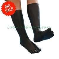 New arrival fetish latex stockings with 5 toes rubber fetish socks unisex clubwear