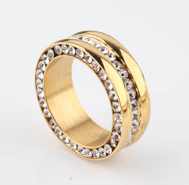 Golden Color Never Fading 3 Round for Men Women 316L Stainless Steel Three Rows Channel-set Crystal Zircon CZ Stone Rings 8mm