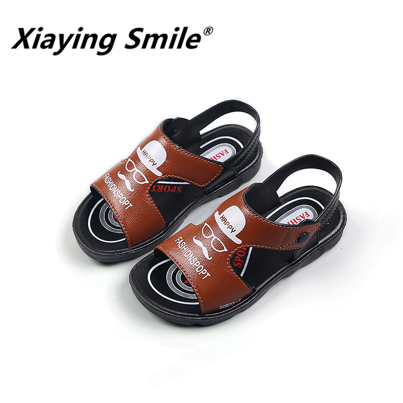 Xiaying Smile Summer Beach Sandals 3 color mustache soft bottom girls boys children casual comfortable kids shoes
