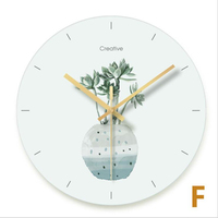 Nordic White Wall Clock Green Plant Simple Clock Table Round Bedroom Living Room Wall Clock Modern Design Mute Pastoral Style