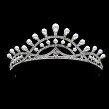 High Quality Bridal Wedding Crowns Vintage Pearl Tiaras Women Pageant Head Piece with Rhinestone Crystals SHA8727