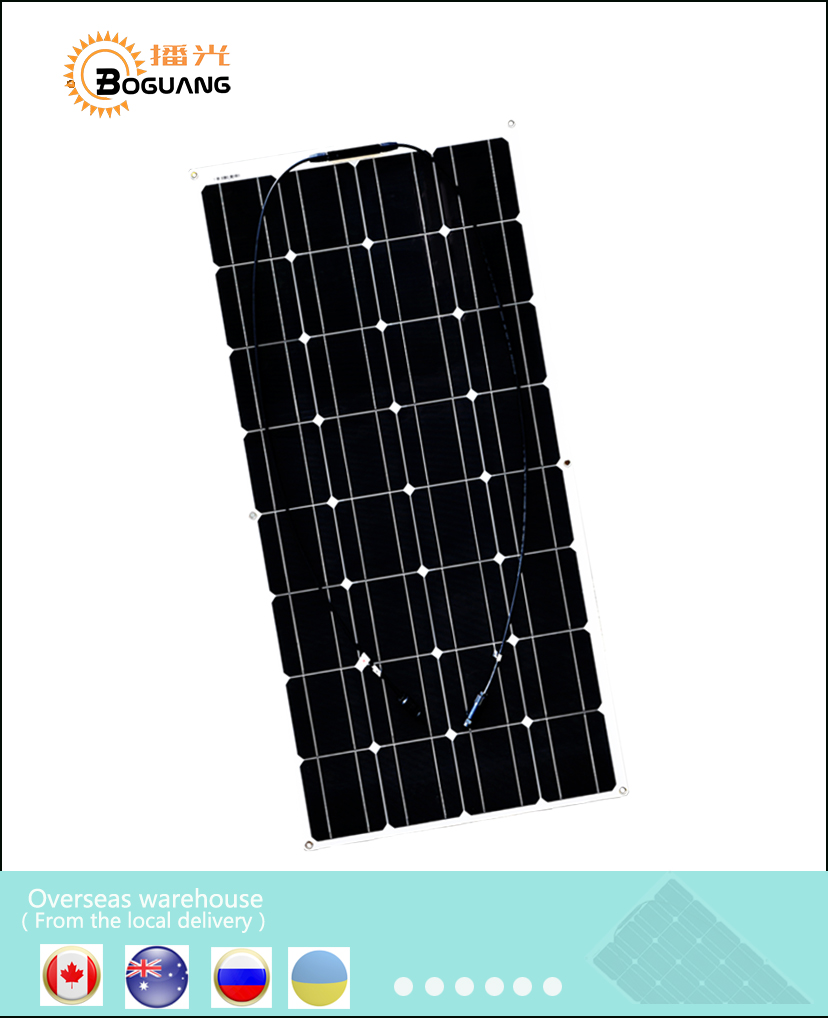 AU RU UA CA Stock 100 Watt 100W 12V 12 Volt Monocrystalline semi flexible Solar panel