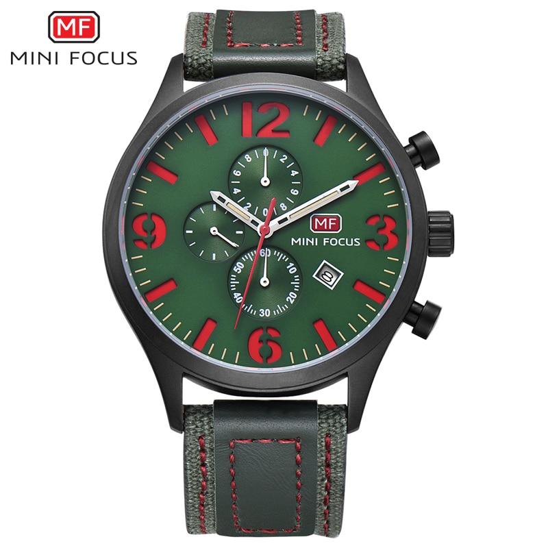 Top Brand Luxury Chronograph Men's Watch Men Quartz Sports Watches Male Nylon Strap Military Wrist Watch MINI FOCUS Analog Clock